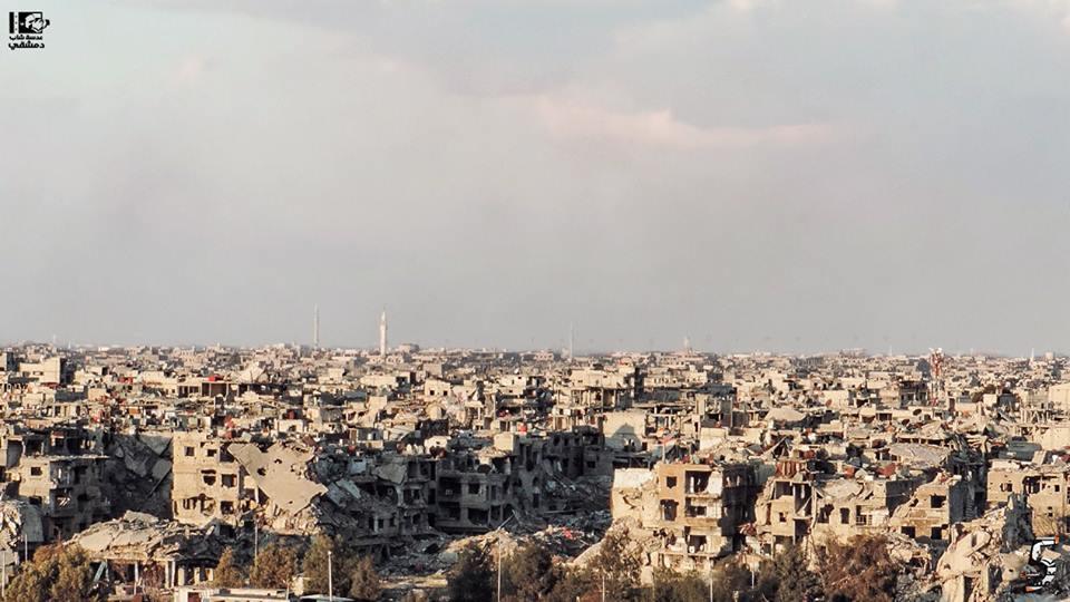 Le camp palestinien de Yarmouk, au sud de Damas, après sa reprise par les forces du régime (Source : Lens Young Dimashqi)