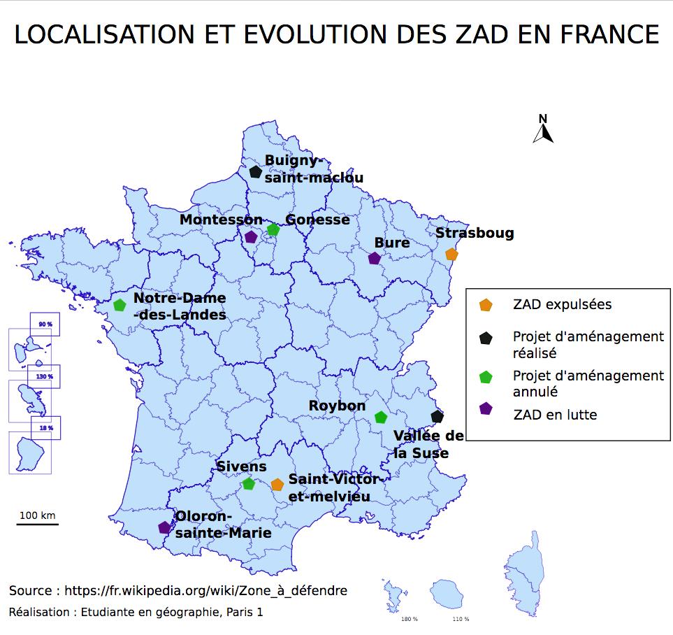 Localisation et satut des principales ZAD en France, 2019